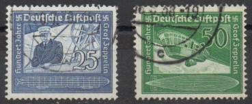 Nr Briefmarken Deutsches Reich 1938 Geburtstag von Zeppelin 669-670 100 Gestempelt